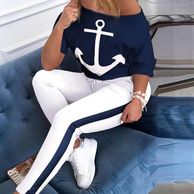 Hors épaule survêtement femmes 2 pièces ensembles à manches courtes bateau ancre imprimer Slash cou hauts pantalons longs été sport survêtement costumes