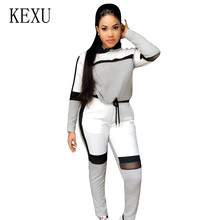 KEXU High Waist 2 Pieces Sets Women New Seamless Casual Jumpsuits Long Sleeve Tie-up Woman Gym Running Sportswear for Ladies