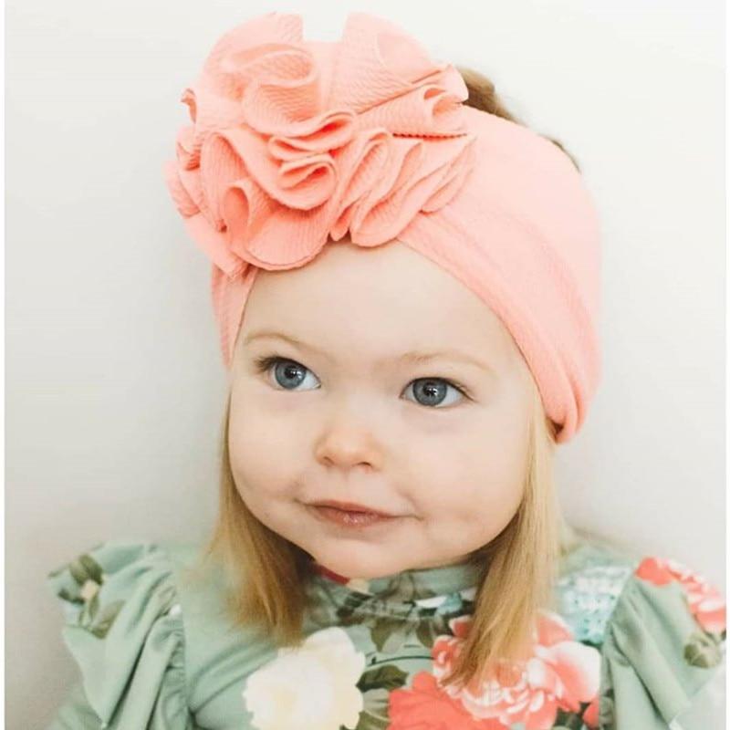 Baby Flower Headband Girls 2020 Hot Sale Infants Elastic Hair Bands Bebes Solid Turban Head Wrap Kids Hair Accessories