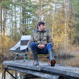 Image 5 - Переносное кресло с серой луной, Кемпинговый стул для рыбалки, складной Расширенный туристический стул с карманом, сверхлегкая офисная мебель для дома