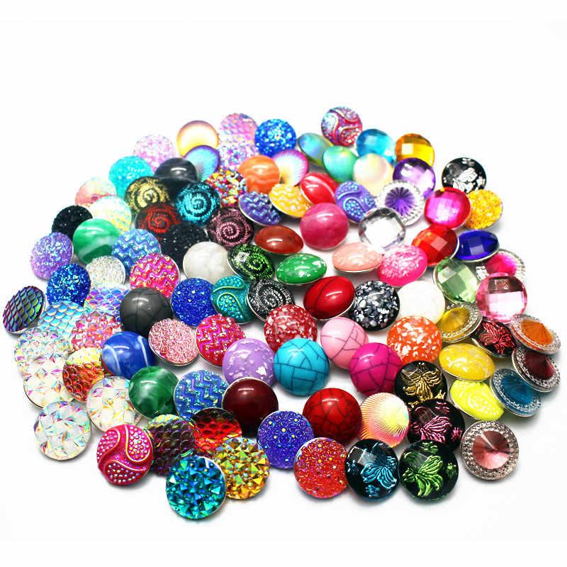 Gorąca sprzedaż 10 sztuk/partia 18mm żywica kolorowe powłoki przystawki przycisk Chams Fit DIY Ginger bransoletka Snap naszyjnik biżuteria