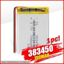 Batterie Lithium polymère 383450, 3.7V, 700 mah, avec panneau de Protection, pour GPS, MP3, MP4, MP5, haut-parleur DVD Portable, PSP, jouet électrique