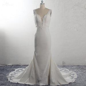 Image 4 - RSW1591 Vestido De Noiva Strech Satin Lace Mermaid Wedding Dresses 2020 Mouwloze Cut Out Trein