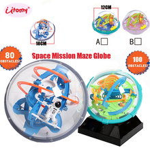 Magic Intellect Ball 3D Space mission Maze globe Ball IQ Balance toy,Educational classic toys Maze Ball with 80-100 Obstacles