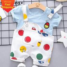 Menoea Newborn Baby Sets 2020 Clothes Cute Smile Face T-shirt Tops + Casual Cartoon Dots Bib pants Boys Girls Suit(China)