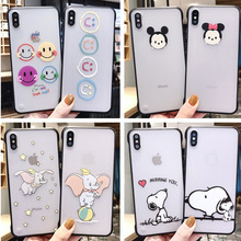 Creative craft borderless phone case for iPhone X XS XR XSMax 8 7 6 6S PluS cartoon transparent two-in-one drop protection cover