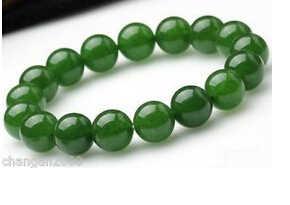 + + + 137 2 pçs maravilhosa bela natureza 10mm redondo verde jade grânulo pulseira de estiramento pulseiras