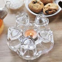 Сердце форма сопротивление стеклянные цветочные чайные горшки свечной обогреватель устройство для подогрева чая чайник нагревательная база жаростойкий ночной Светильник Декор чашка