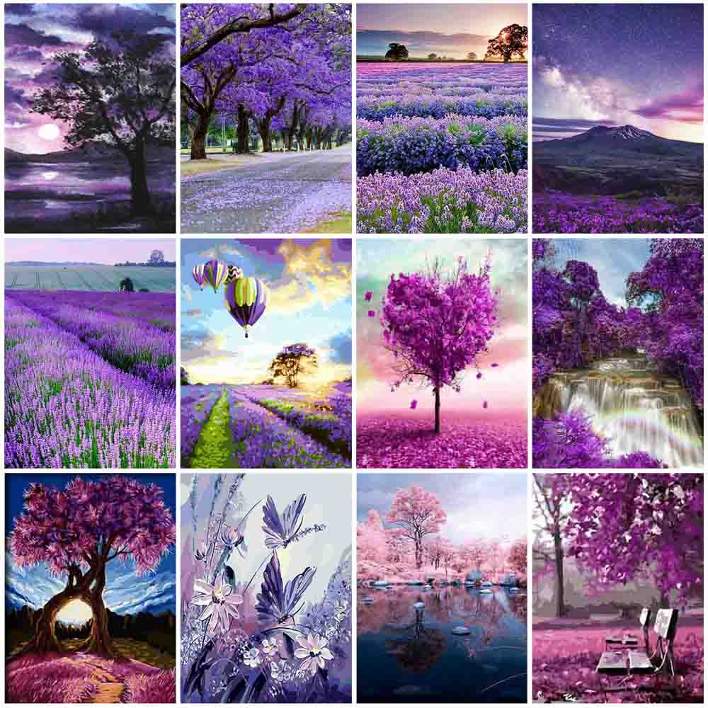 HUACAN Paint By Number Scenery Drawing On Canvas Hand Painted Painting Tree Pictures By Numbers River Kits Home Decoration