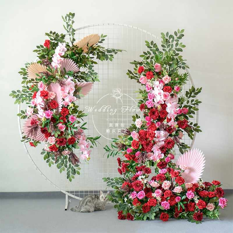 Customize New Wedding Flower Arrangement Props Artificial Flower Row Red Silk Floral Arch Decoration Wedding Party Window Layout Artificial Dried Flowers Aliexpress