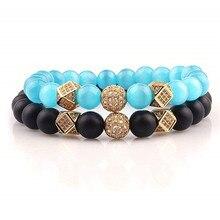 2PCS/Set Matte Black Natural Stone Bracelet 8mm Elastic Rope Bead Hematite Fashion Men Women charm Jewelry
