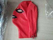 Красная с черным латексным Фетиш-капюшоном резиновая маска для косплея капюшон с открытыми глазами и ртом