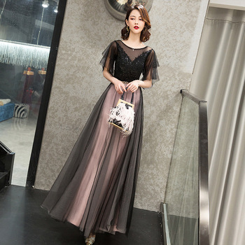 2020 New Noble Qiapo Maxi Black Evening Dress Long Mesh Chinese Dresses Women Elegant Beads Cheongsam Sexy Robe De Soiree