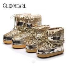 الثلوج أحذية الشتاء الكاحل أحذية حريمي برقبة الفراء الدافئة الأحذية الإناث حجم كبير منصة حذاء كاجوال عدم الانزلاق الذهب بلينغ عدم حتى دي