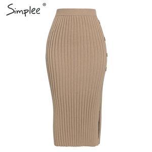Image 5 - Simplee Sexy side dividir botão das mulheres de malha Elegante saia plissada midi saia do sexo feminino cintura Alta desgaste do partido senhoras saia inferior