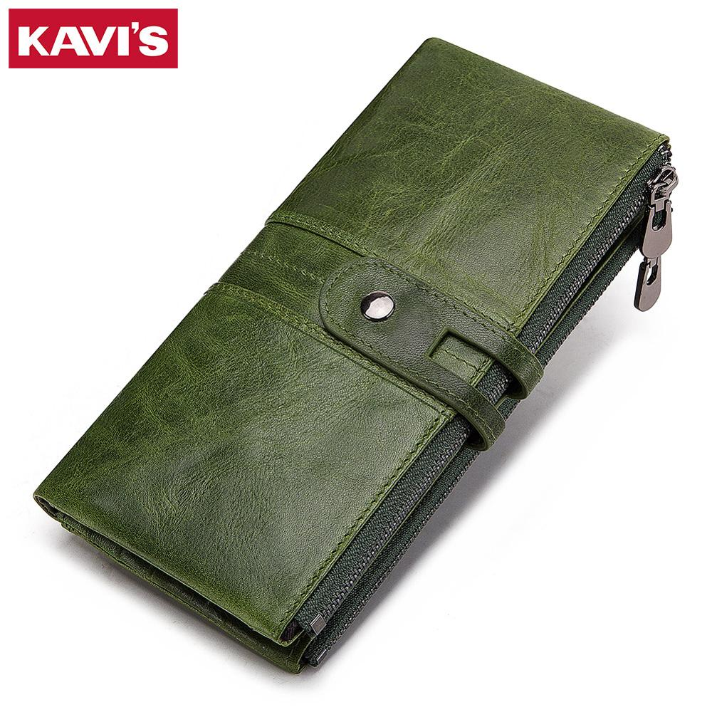 KAVIS Genuine Cow Leather Women Wallet Female Coin Purse Portomonee Clutch Money Bag Long Handy Card Holder Zipper For Girls
