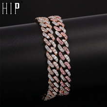 Hip Hop 8MM Bling Iced Out Zircon Full Rhinestone Bracelet Geometric AAA CZ Stone Cuban Chain Bracelets For Men Jewelry
