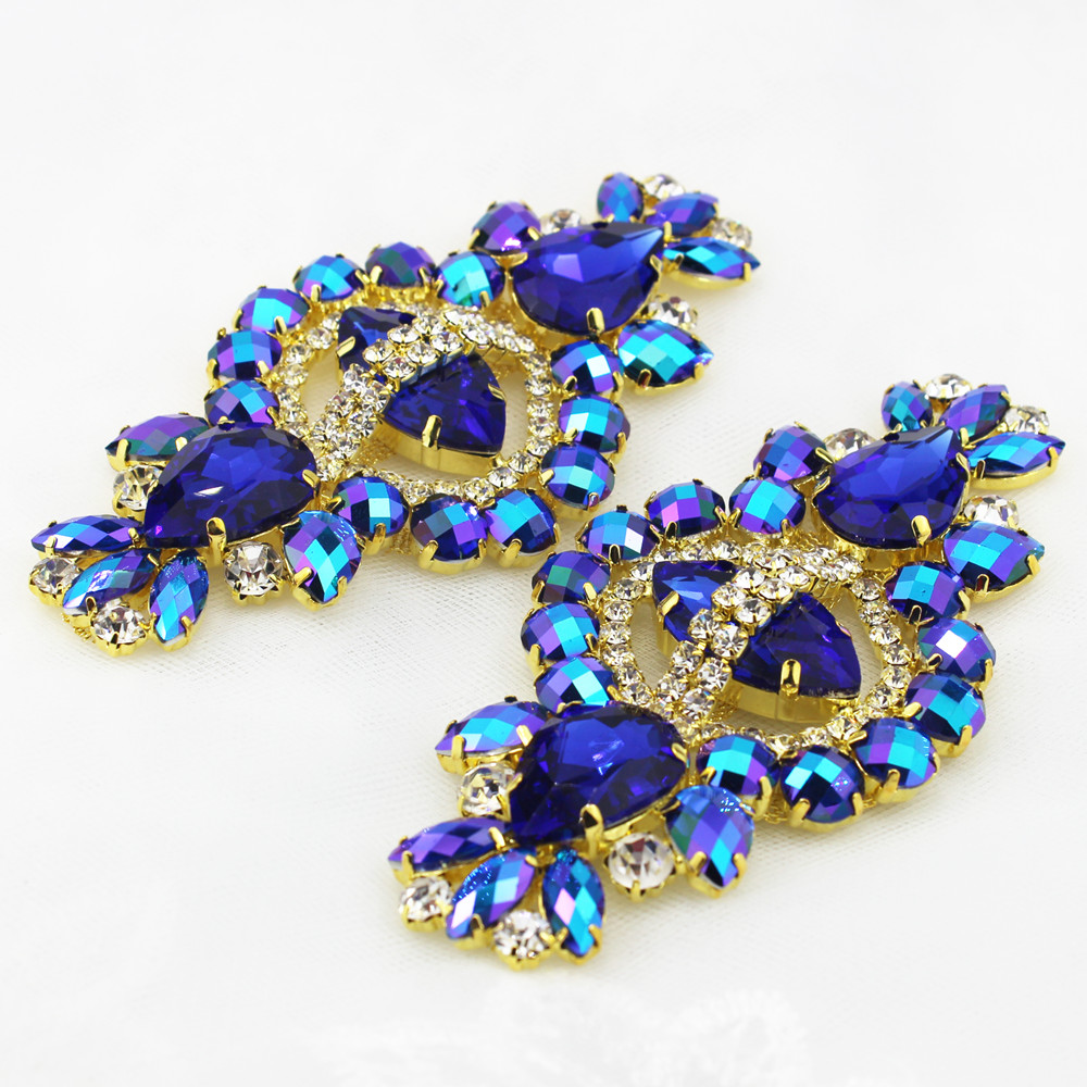 1PCS  Shiny Crystal With Gold Metal Base For Women Fashion Clothese Decorations Blue Candy Shape Rhinetone Applique