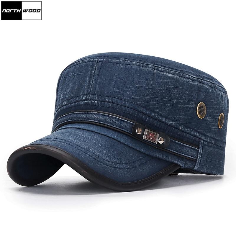 Fashion Flat Top Military Hat Cotton Snapback Cap Men Women Vintage Baseball Caps Dad Hats Adjustable Size 55-60cm