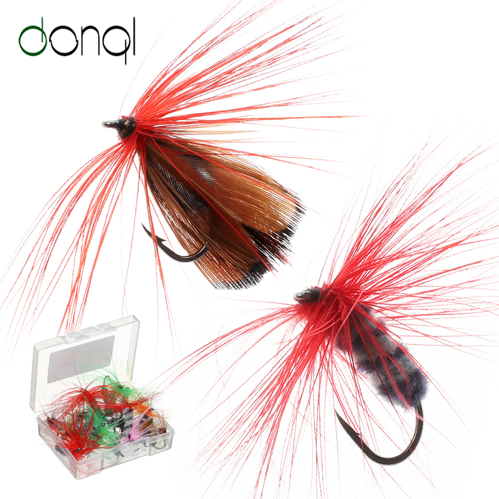 DONQL 10-50pcs Box Insects Flies Fly Fishing Lures Butterfly Trout Dry Fly Fishing Baits With Sharpened Crank Hooks Fish Tackle (1)