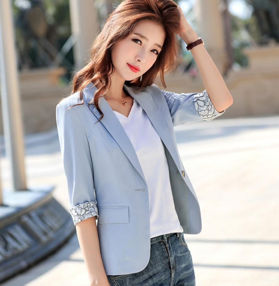2020 Spring Autumn Fashion Women Pink Professional Suit New Style One Button Pure Color Work Wear Female Simple Temperament Tops