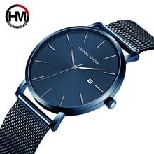 Men Watch 2019 Top Brand Luxury Blue Ultra Thin Quartz Watch Men Minimalis Clock Mesh Steel Waterproof Wristwatches reloj hombre цена 2017