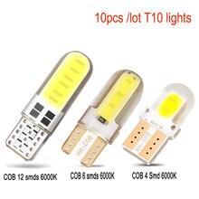 10 pces t10 cob 4/6/12 smd led auto interior lâmpada canbus erro livre branco 5730 led 12v cunha lateral do carro lâmpada