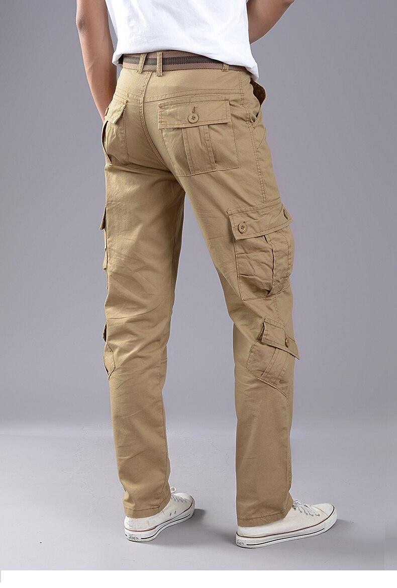 KSTUN Cargo Pants Men Combat Army Military Pants 100% Cotton 4 Colors Multi-Pockets Flexible Man Casual Trousers Overalls Plus Size 38 28