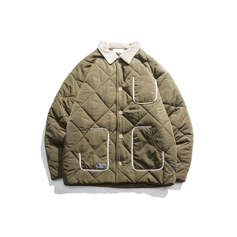 Japanese Harajuku Vintage Diamond Quilted Jacket Coat For Men And Women Unisex Button Up Winter Quilted Parka Plus Size