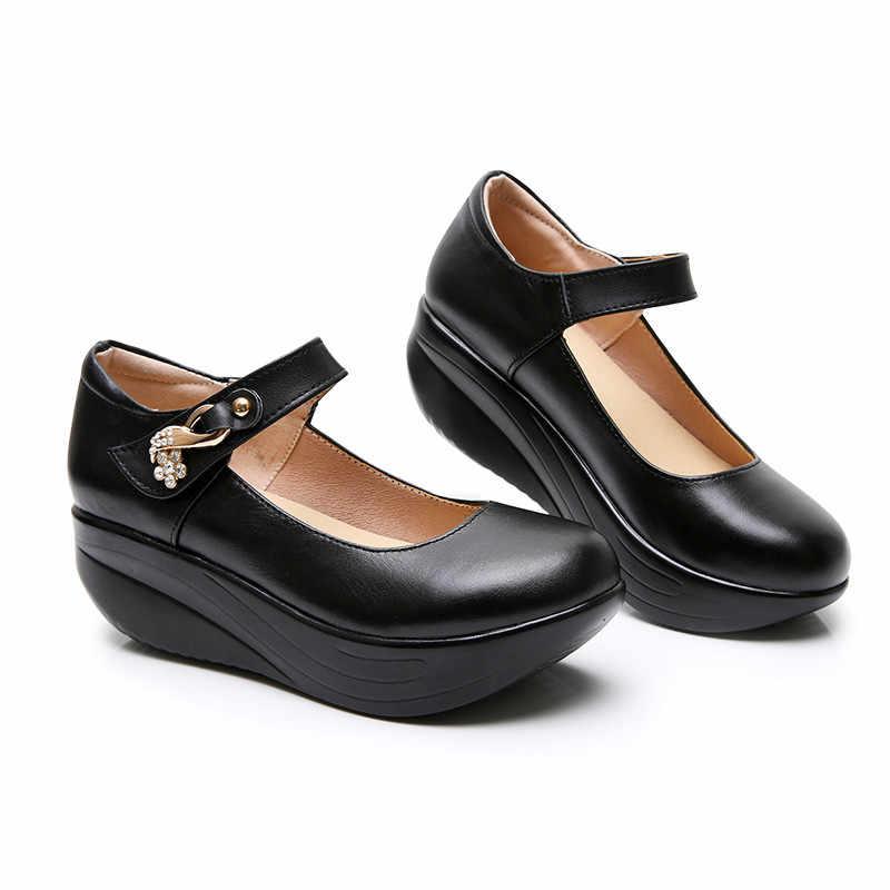 LIN RE Nero delle Donne Punta Rotonda Pompe Più Il Formato Donna Cuneo Scarpe Battente Femminile di Aumento di Altezza del Plaform Tacco Alto scarpe di Grande Formato