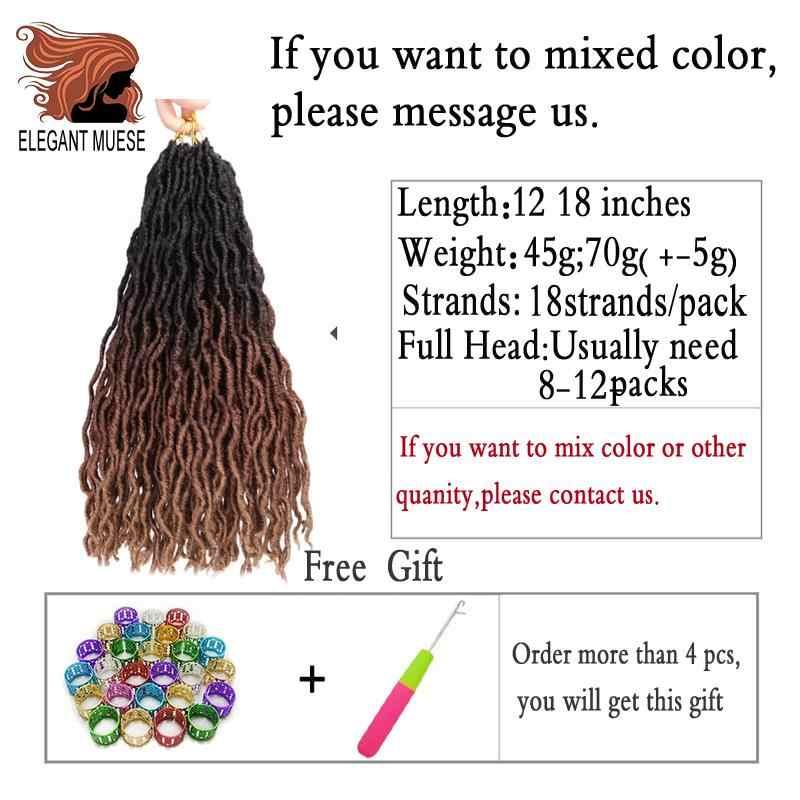 De Locs rizado extensiones de cabello de ganchillo de 12 pulgadas Ombre Kanekalon trenzado pelo suave teme trenzas de Crochet rastas