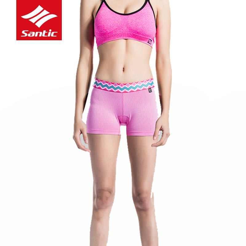 Santic 2018 חדש נשים אופניים רכיבה על אופניים 4D מרופד תחתונים לנשימה נגד זיעה מכנסיים MTB כביש אופני עמיד הלם רכיבה תחתונים