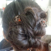 Koreaanse Haar Accessoires En Metalen Retro Koperen Holle Rose Flower Mini Kleine Strass Grab Clip Haar Clip(China)