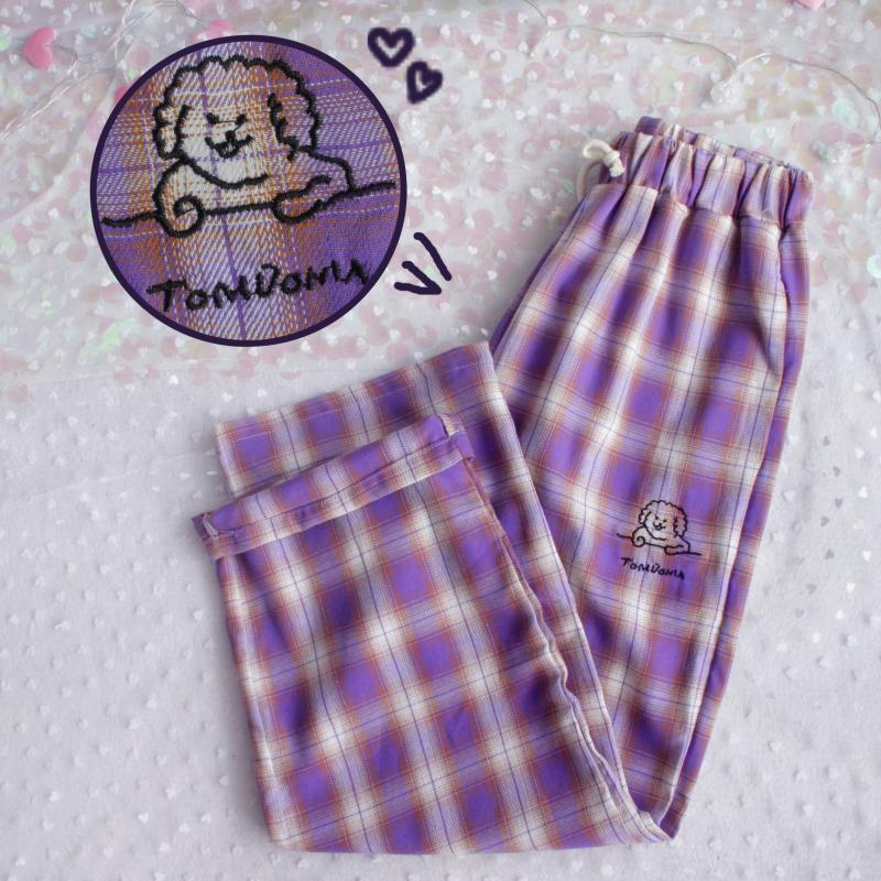 Harajuku Dog Embroidery Pants Women Japanese High Waist Cute Casual Purple Plaid Pants Korean Kawaii Girls Wide Leg Trousers