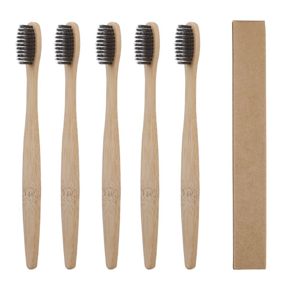 5pcs Eco Friendly Bristles Bamboo Charcoal Toothbrushes Oral Care Tooth Brush Environmentally Tooth Brush image