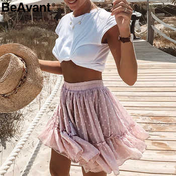 BeAvant Boho summer pleated mini skirts womens High waist polka dot short skirt pink A line floral printed ruffle chiffon skirts - DISCOUNT ITEM  44% OFF All Category