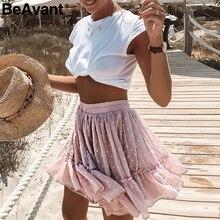 Beavant自由奔放に生きる夏プリーツミニスカートレディースハイウエスト水玉ショートスカートピンクaライン花プリントフリルシフォンスカート