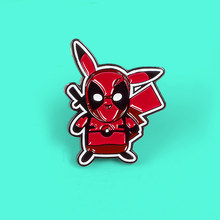 Dessin animé Pokemon Pikachu Deadpool broches film émail broche rouge broche sac à dos jean vêtements broche broche bijoux Brosche(China)