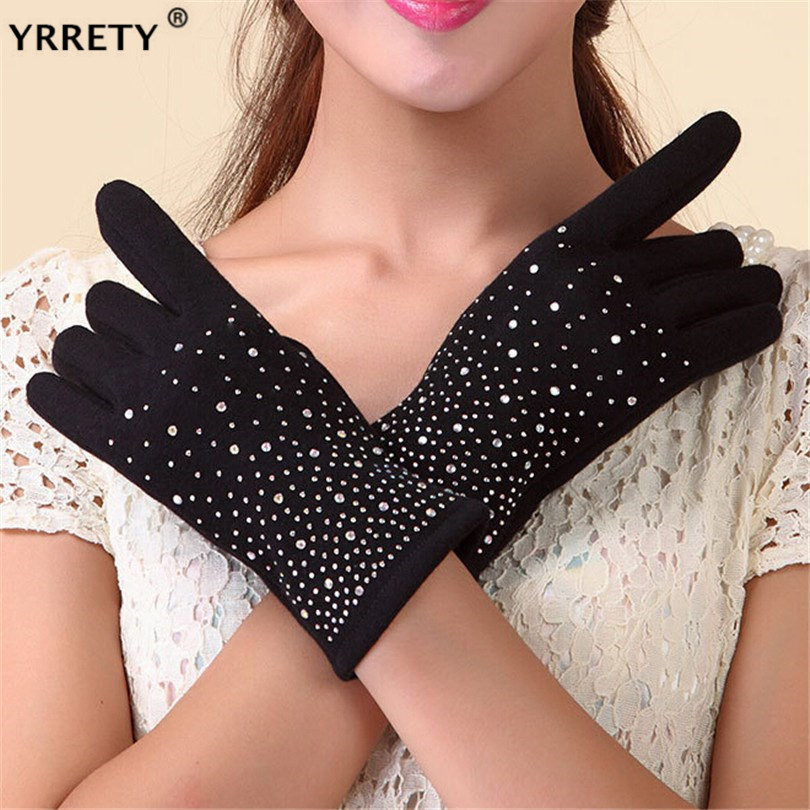 YRRETY Winter Spring 2020 Bead Gypsophila Glove Solid Wool Gloves For Women Wrist Touching Screen Mittens Glove Women's Gloves