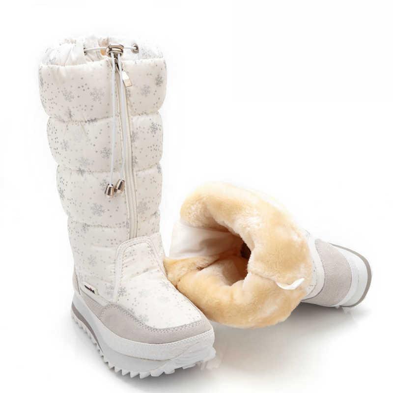 2019 Winter Laarzen Mid Calf Vrouwen Snowboots Pluche Warme Schoenen Waterdicht Wit Vrouwen Laarzen Zip Vrouwelijke Lange Laarzen Plus maat 42
