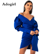 Adogirl Autumn Asymmetrical Hem Bodycon Dress Puff Sleeve Wrap V Neck Ruched Empire Sheath Evening Party Dresses