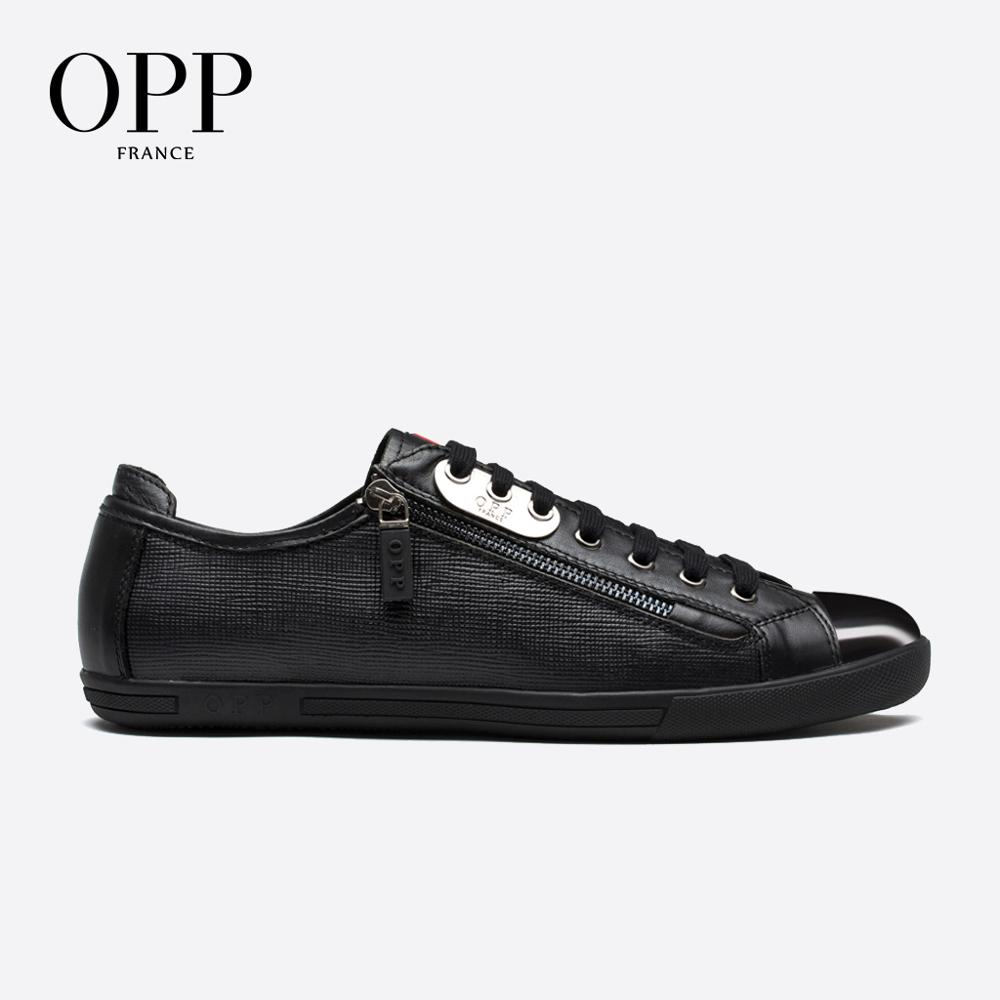 OPP Mens  Fashion Low Leather Lace-up Casual Shoes, Genuine Leather Stitching Casual Men's Shoes Punk Loafers For Men