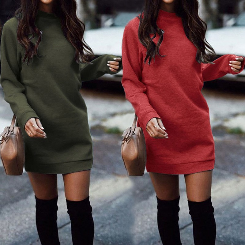 Winter Women Casual O-Neck Warm Knitted  Dress Female Long Sleeve Sweater Dress Autumn Clothing Sexy Solid Wool Dress