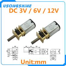 Micro motor da engrenagem do metal da c.c. 3 v/6 v/12 v n20 mini com os motores da c.c. 15/30/50/60/100/200/300/500/600/1000 rpm