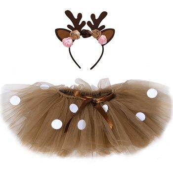 Коричневая юбка-пачка с оленем для девочек, наряды пышная вечерняя юбка-пачка для танца для маленьких девочек, костюм северного оленя на Хэл...