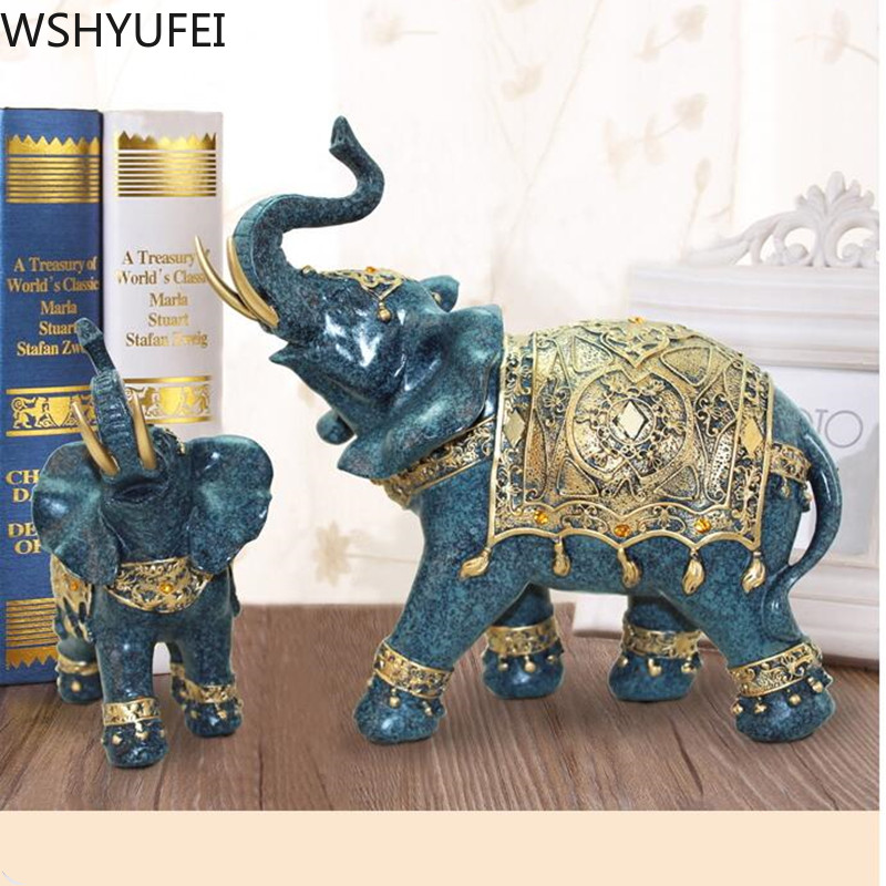 Décoration de la maison chinoise éléphant forme décoration Unique décoration de ménage résine décoration artisanat Figurines Miniatures