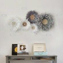 נוצת קיר קישוט תליון קיר יצירתי קיר Boho דקור חדר המיטה אור יוקרה קיר תליית היפי