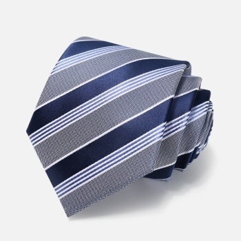 High Quality 2020 Designer New Fashion Dark Blue Wide Striped Gray 8cm Ties for Men Necktie Business Formal Suit with Gift Box
