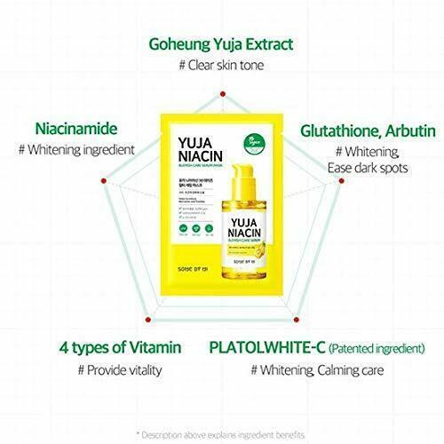 SOME BY MI Yuja Niacin Blemish Care Serum Mask 10ea Moisturizing Brighten Whitening Mask Oil-control Shrinkage Pore Antioxidant 3