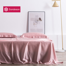Sondeson Luxury Pink Beauty 100 Silk Flat Sheet 25 Momme Silk Queen King Beauty Healthy Skin